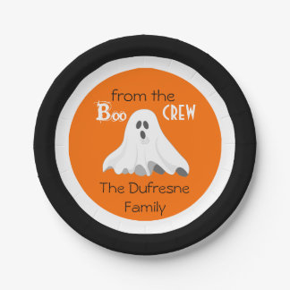 """""""Boo From The Crew"""" Personalised Halloween 7 Inch Paper Plate"""