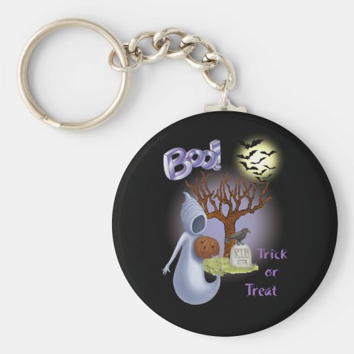 Boo! Ghost & Scary Tree, Bats Keychain