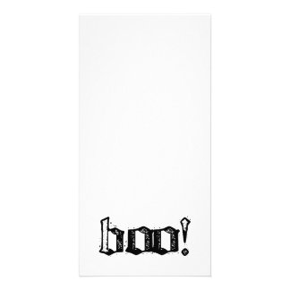 Boo! Gothic Engraved Customized Photo Card