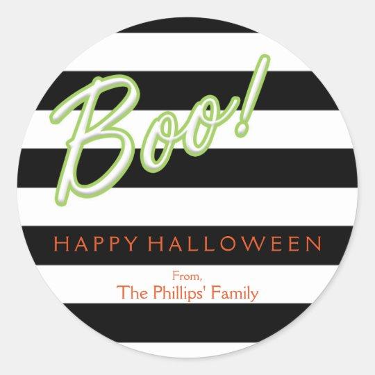 BOO green Chic Halloween Black Striped Sticker