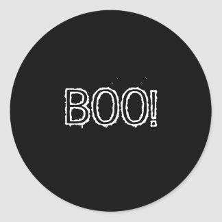 BOO! Grungy Font, black and white. Round Sticker