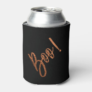 Boo! Halloween Orange and Black Halloween Can Cooler