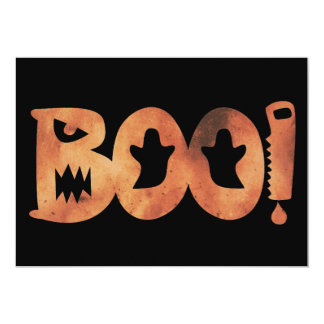 BOO! Halloween Orange & Black Scary Ghosts Card