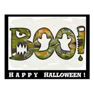 BOO Happy Halloween black - postcard or invitation