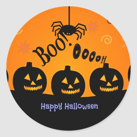 Boo! Happy Halloween in orange and black Classic
