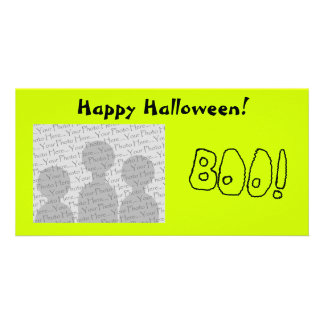 BOO! In Black Outlined Shaky Letters. Picture Card