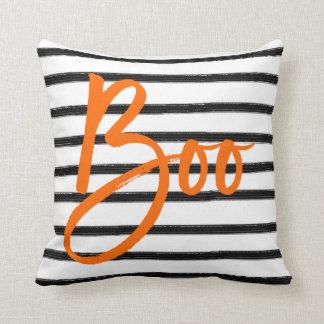 Boo Striped Halloween Throw Pillow