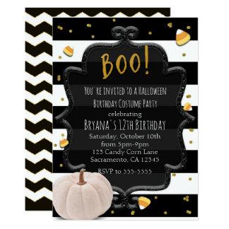 BOO! White Pumpkin & Candy Corn Halloween Party Card