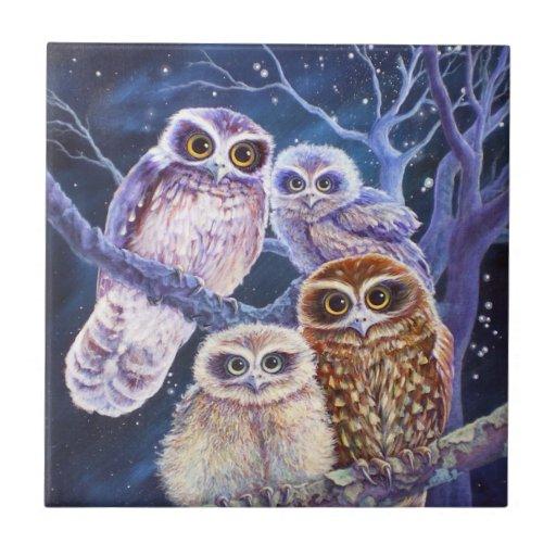 Boobook owl family. ceramic tiles