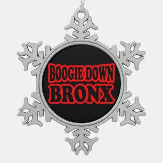Boogie Down Bronx, NYC Snowflake Pewter Christmas Ornament
