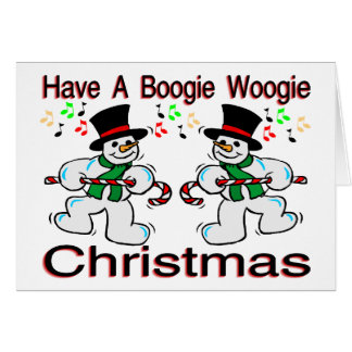 Boogie Woogie Christmas Snowmen Greeting Card