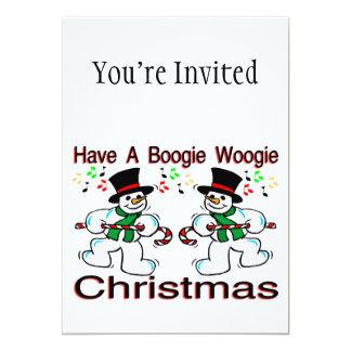 Boogie Woogie Christmas Snowmen 13 Cm X 18 Cm Invitation Card