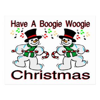 Boogie Woogie Christmas Snowmen Postcard