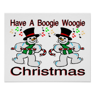 Boogie Woogie Christmas Snowmen Poster