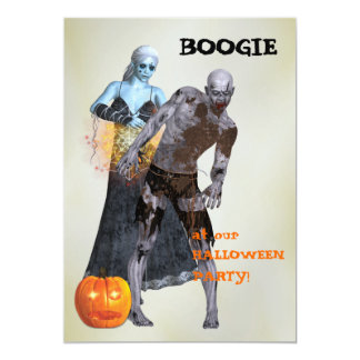 Boogie Zombie Halloween Party Card