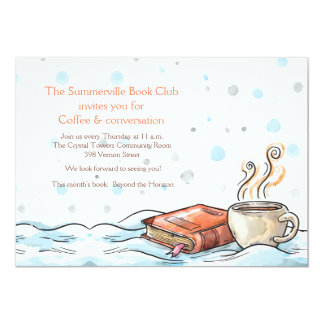 Book and Cup of Coffee Invitation