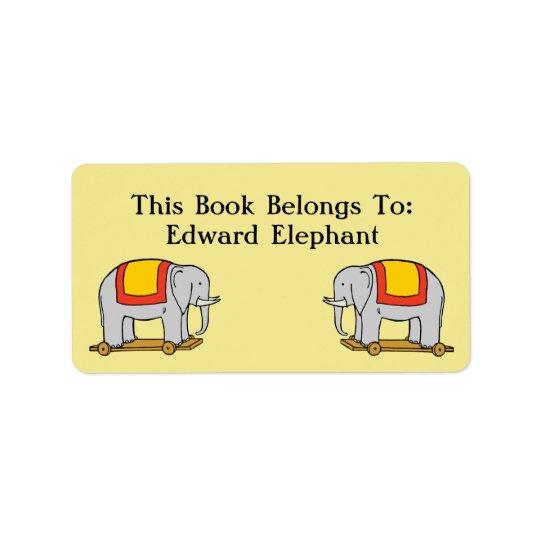 Book Belongs To Custom Vintage Toy Elephant Label