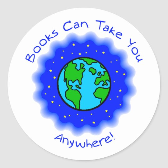 Book Can Take You Round Stickers, 2 sizes Classic Round Sticker