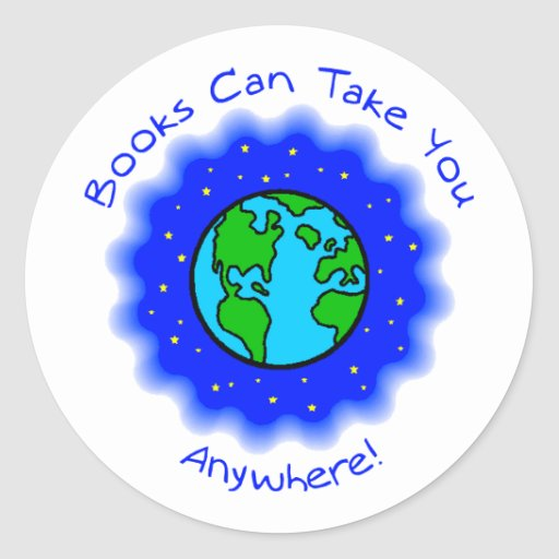 Book Can Take You Round Stickers, 2 sizes Round Sticker
