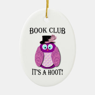 Book Club - It's A Hoot - Pink Design Ceramic Oval Decoration