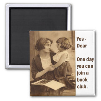 book club mother and daughter square magnet