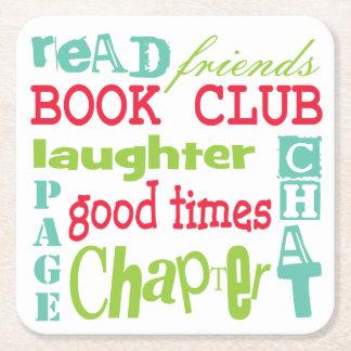 Book Club Typography Subway Art Square Paper Coaster