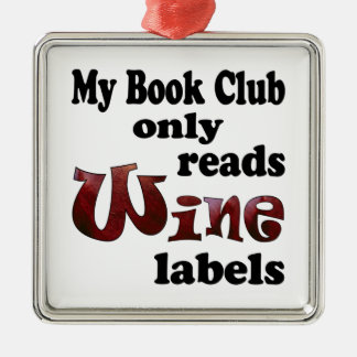 Book Club Wine Labels Christmas Ornament