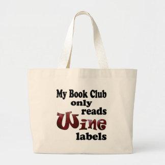 Book Club Wine Labels Large Tote Bag