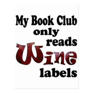 Book Club Wine Labels Postcard