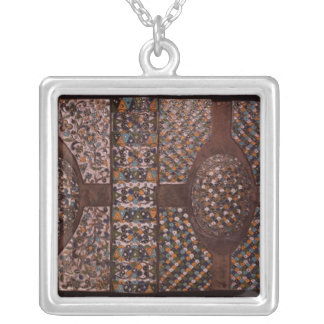 Book cover silver plated necklace