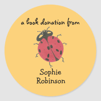 Book donation label - ladybug round sticker