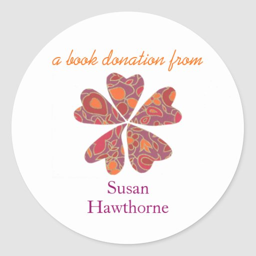 Book donation sticker - blooming hearts, purple