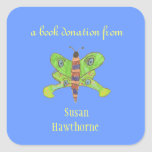 Book donation sticker - butterfly - square