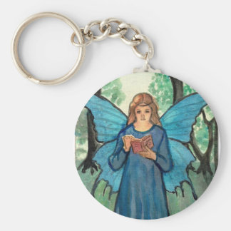 Book fairy in the forest basic round button key ring
