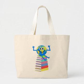 Book Globe Large Tote Bag