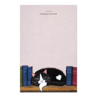 Book Love | Cat on a Book Shelf Note Paper Personalized Stationery