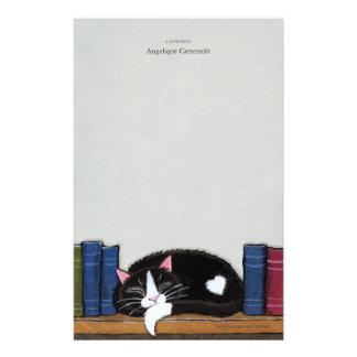 Book Love | Cat on a Book Shelf Note Paper Stationery