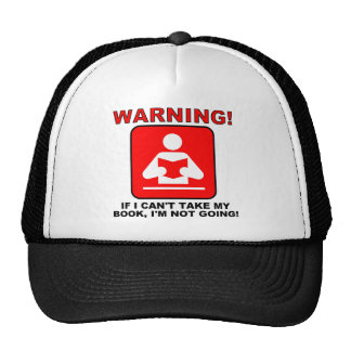 Book Lover Bookworm Warning Funny Ball Cap Hat