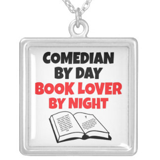 Book Lover Comedian Square Pendant Necklace
