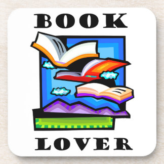 """""""Book Lover"""" - Flying books & pages for reading Beverage Coasters"""