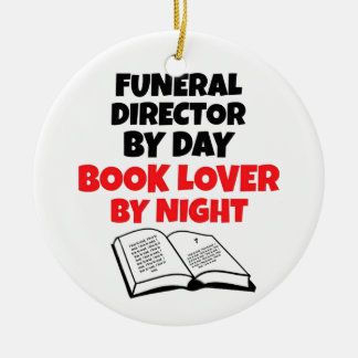 Book Lover Funeral Director Round Ceramic Decoration