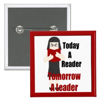 Book Lover Gal Reader Leader Button 1