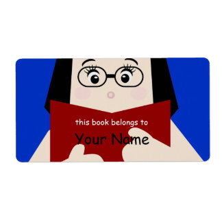 Book Lover Girl 2 Bookplate Label Shipping Label