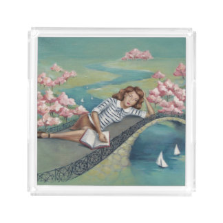 Book Lover Girl Pastel Acrylic Square Tray