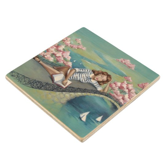 """Book Lover Girl Pastel Wood Coaster"