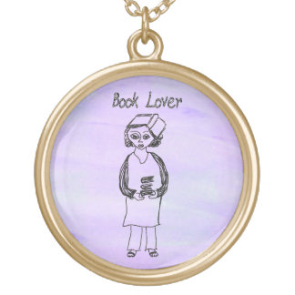 Book Lover Round Pendant Necklace
