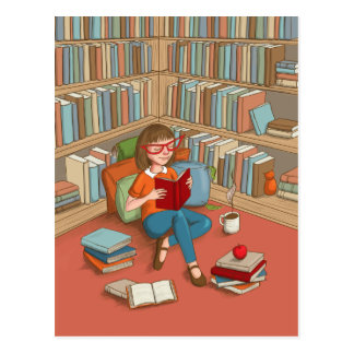 Book Lover sitting with her books Postcard