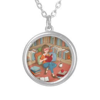 Book Lover sitting with her books Silver Plated Necklace