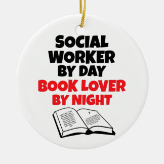 Book Lover Social Worker Christmas Ornament