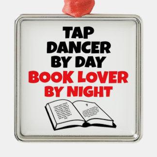 Book Lover Tap Dancer Silver-Colored Square Decoration